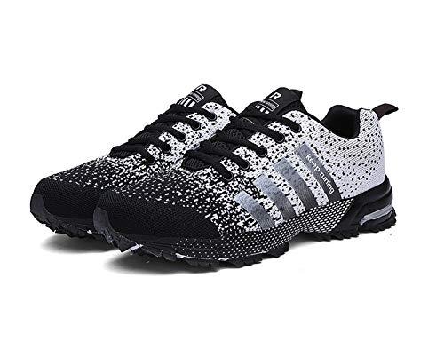 Goalsse Uomo Donna Scarpe da Ginnastica Sportive Running Fitness Sneakers Traspiranti Outdoor Respirabile Mesh Casual Sneakers (41 EU, Bianco Nero)