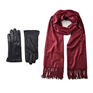 Women's Solid Color Scarf and Sheep Leather Touch Screen Gloves Gift Set