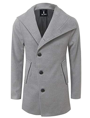 TAM WARE Mens Single Breasted Button Wool Pea Coat TWNFD077J-GRAY- US M