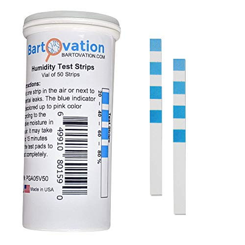 4 Pad Cobalt Chloride Humidity Test Strip 20% - 80% Humidity [Vial of 50...