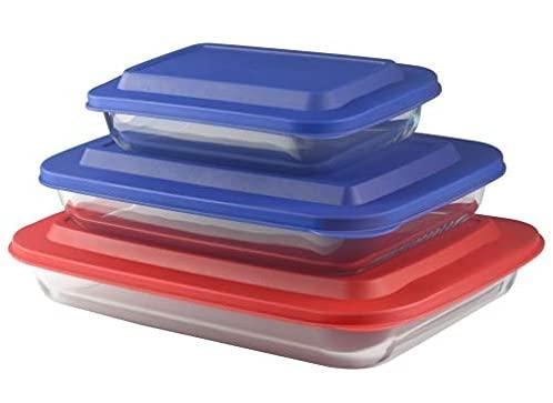 Bovado 6-Piece Glass Bakeware Set with Multi-Color BPA-Free Lids (1QT + 2.2QT + 3QT) | 3 Baking Dishes + 3 Lids | Premium Rectangular Glass Baking Dishes for Casseroles, Lasagna, Leftovers & Cooking | Essential Kitchen Items