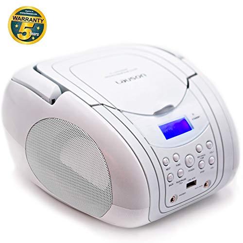 Lauson CP454 Tragbarer CD-Player | Boombox | Radio | USB-Player | CD-Player Kinder | UKW Radiotuner Tragbar | AUX-In | Netz & Batterie | 3.5 Kopfhörer-anschluss (Weiß)