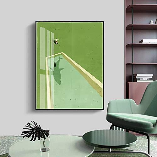 wZUN Resumen de tiburón Verde Buceo Lienzo Pintura Cartel impresión Pared Arte Imagen para Sala de Estar decoración del hogar 60x80 Sin Marco