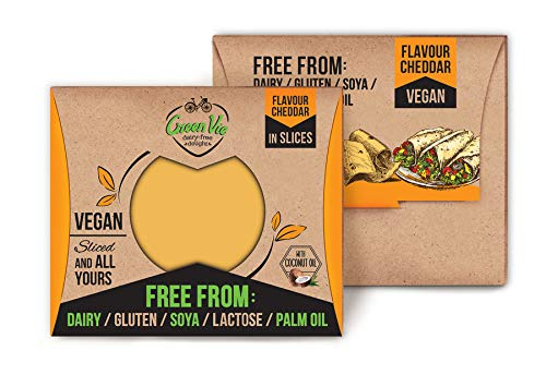 GreenVie Queso Cheddar en Lonchas vegano 180g (Pack de 4)