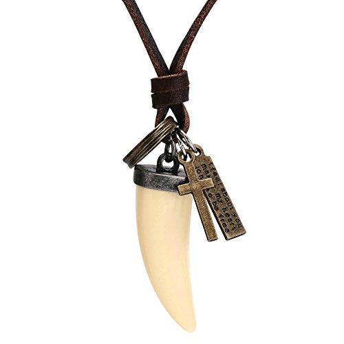 SonMo Verstellbar Herren Leder Halskette Anhänger Kettenanhänger Zahn Leder Kette Männer Beige Länge 75.4CM