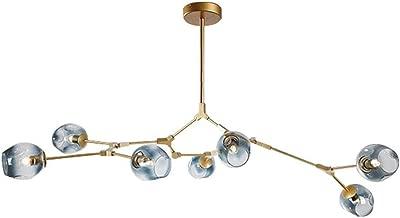 LUOLAX Modern Pendant Light Glass Chandelier with 7 Lights Fixture Hanging Flush Mount (7 Heads-Gradient Blue)
