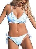 Yutdeng Costumi Mare da Donna V Profonda Imbottito Costume da Bagno Brasiliano Bikini a Vita Bassa Ruffles Flounce Bikini Top