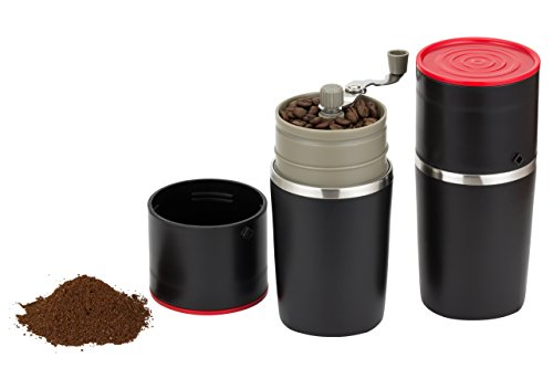 Infinite Coffee's Grind and Brew Master - Manual Coffee Grinder and Bonus Portable Coffee Brewer - Unique Manual Ceramic Burr Coffee Grinder that Can Also Brew