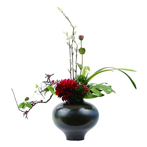 JIN Bonita Decoración Flores Artificiales Mash Up Flores Artificiales, Usadas en el Hotel de la Oficina de la Sala de Estar, con Jarrón de Cerámica, Flor de Seda de Estilo Retro 25.6 Pulgadas Flores