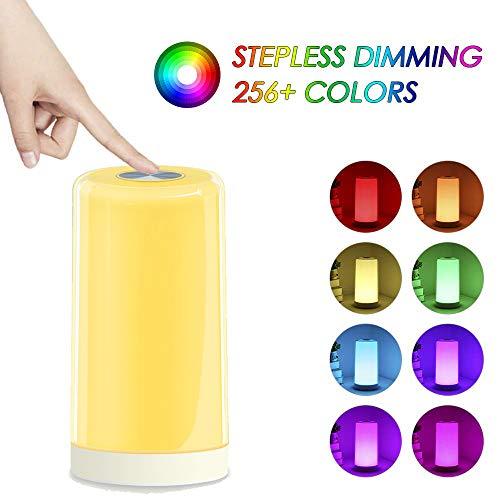 Lámpara Táctil, Lámpara De Cabecera Tomshine Con Blanco Cálido Regulable, Blanco, 256 Rgb Cambio De Color Y Función De Memoria Luz Nocturna Para Las Habitaciones