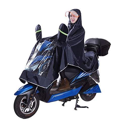 Regenmantel, Motorrad Wasserdicht Großer Regenmantel Mobility Scooter Wiederverwendbarer Regenmantel Regenponcho Regen Mac Regenbekleidung, 4XL,Black,XXXXL