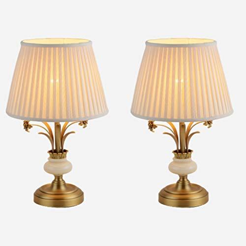lampara de lectura Tabla estadounidense retro de la lámpara de cobre decorativo de tela Pantalla Con el interruptor de botón Jade Orquídea dormitorio de la lámpara de escritorio Estudio Para Lámpara d