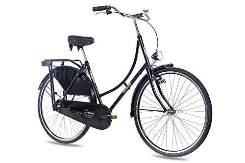 KCP 28 Zoll Citybike Damen Hollandrad - Deritus 1G schwarz - Damen City-Fahrrad im Retro-Design, Vintage Damenfahrrad mit Rücktrittbremse und praktischem Gepäckträger, bequemtes Cityrad für Frauen
