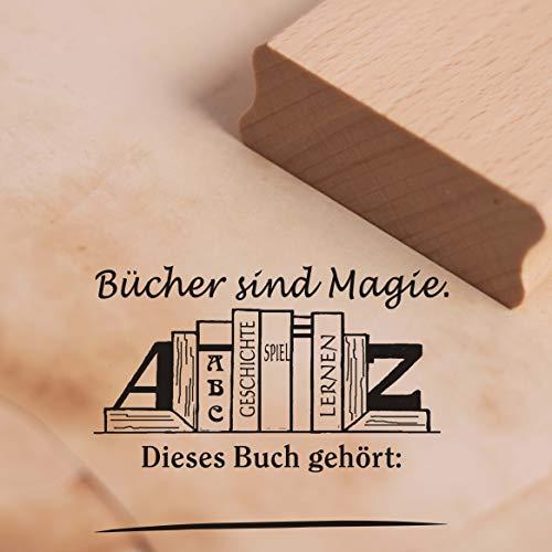 Stempel Dieses Buch gehört - Bücher Magie Motivstempel - ca. 48 x 37 mm