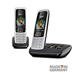 Gigaset C430A Duo 2 cordless telephones with answering machine (DECT handsfree telephone, classic handsets with TFT color display) black-silver