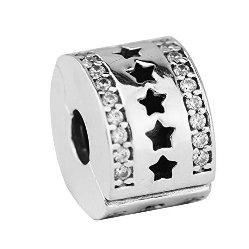 LILIANG Authentische 925Er Sterling Silber Perlen Klare Sternenformation Clip Stopper Charms Für Schmuckherstellung Passend Für Original Armband