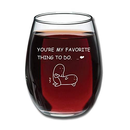O2ECH-8 (12 ounces - Du bist mein Lieblingskontung nooit vervagen geëtst patroon rode wijnglas breukvast helder geschenk voor medewerkers