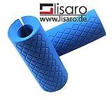 Lisaro Hantelgriffe aus Silikon Blau, Grips Smallsize, Hantelgriffe,Fat Bar Grips, Universal Arm Bar...