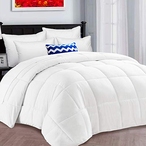 HARNY All Season Queen Comforter Size Soft Quilted Down Alternative Comforter Hotel Duvet Insert with Corner Tabs,Winter Warm, Machine Washable, Fluffy and Soft Breathable White,88x88 Inches