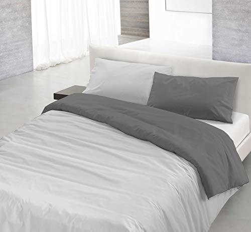Italian Bed Linen Natural Color Parure Copri Piumino, 100% Cotone, Grigio Chiaro/Fumo, Piazza E Mezza, 2 unità