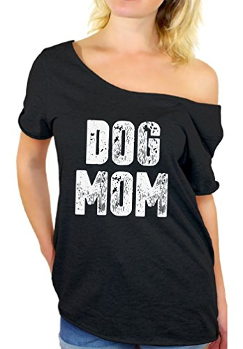 Awkward Styles Women's Dog Mom Off Shoulder Tops T Shirt Dog Lover Quote Mom of Dogs Gift for Mom Black L