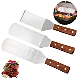 Zaleonline 3 Piece Stainless Steel Metal Spatula Set Perforated Cooking Turner And Scraper Flat Spatula Pancake Flipper Hamburger Turner for Teppanyaki BBQ Grills And Griddle Spatulas Tool Kit