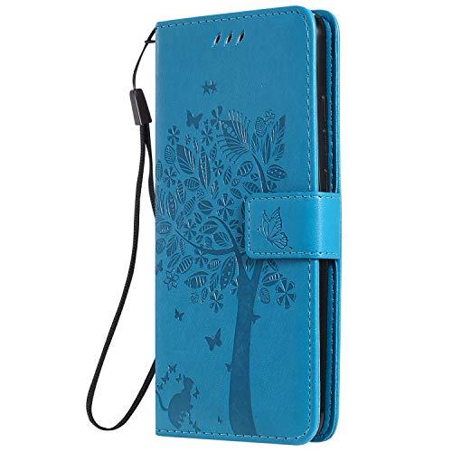 LODROC Xiaomi Mi 9T/Redmi K20 Hülle, TPU Lederhülle Magnetische Schutzhülle [Kartenfach] [Standfunktion], Stoßfeste Tasche Kompatibel für Xiaomi Mi9T Pro - LOKT0102525 Blau