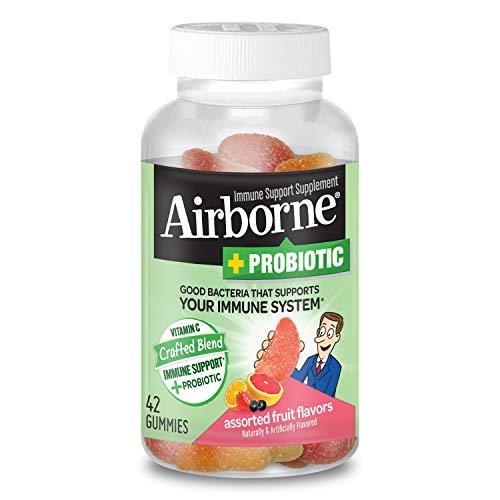 Vitamin C 750mg (per serving) - Airborne Plus Probiotic Gummies (42 count in a bottle), Gluten-Free Immune Support Supplement With Vitamins A C E, Selenium, Echinacea, Ginger, Antioxidants