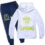 Can't Hear You I'm Gaming Boy Girl Sudadera con capucha Pantalones para niños Top Cómodo Jersey Unisex Moda Trajes Estoy Gaming Merch, blanco, 3-4 Años