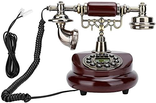 Teléfono antiguo Teléfono Estilo europeo Decoración Teléfono con cable, resina de estilo retro Teléfono Dial de rotación Dial Auricular Línea de escritorio para Home Office Hotel, FSK y DTMF Vintage T
