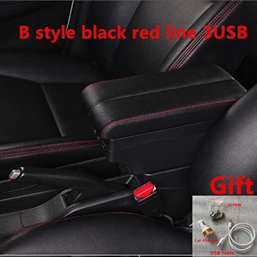 PREPP Ajuste para Nissan Juke Armrest Box Central Tienda de Contenido Caja de Almacenamiento de Contenido con Interfaz USB Products (Color Name : B Black Red Line)