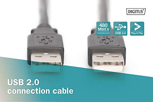 DIGITUS USB 2.0 Anschluss-Kabel - 1m - Verbindungs-Kabel mit 2 USB A Steckern - High-Speed 480 MBit/s - Schwarz