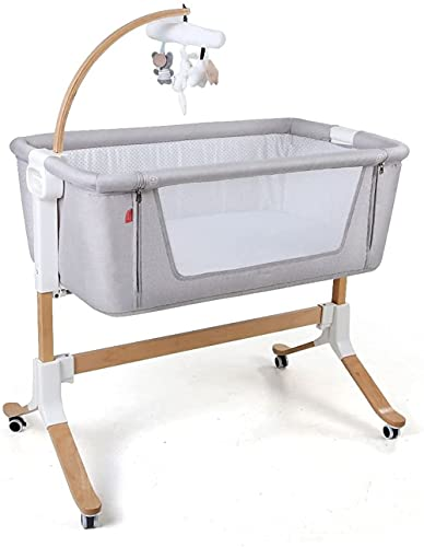 ZYLHC Comfortable crib mobile cradle, small wooden bedside table, side mesh doll bed with wheels, suitable for newborns 0-24 months old (light gray)