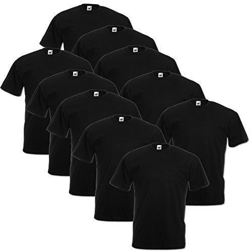 10 Fruit of the loom T Shirts Valueweight S M L XL XXL 3XL 4XL 5XL Übergröße Diverse Farbsets auswählbar (2XL, Schwarz)