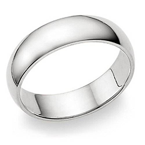 Metal Factory 6MM Sterling Silver High Polish Plain Dome Tarnish Resistant Comfort Fit Wedding Band Ring Sz 8.5