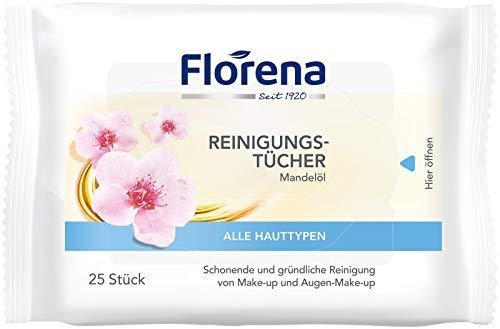 Florena Reinigungstücher mit Mandelöl, Vegan, 1er Pack, (1 x 25 Stück), für Make-up und Augen-Make-up Entfernung, alle Hauttypen