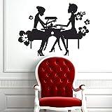 HGFDHG Salón de uñas, calcomanía de Pared, salón de Belleza, manicura, Arte, Chica, Mural, Vinilo, Pegatina de Pared, decoración de Ventana de Flores de Moda