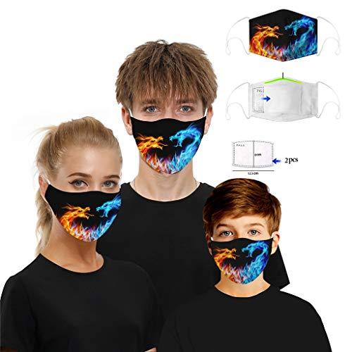 1 STK Mundschutz mit Motiv mit 2 Filter Baumwolle mundschutz kaufen waschbar Unisex Wiederverwendbare Staubschutz Gesichtsabdeckung, Anti-Staub mundschutz zum Laufen, Radfahren (A)