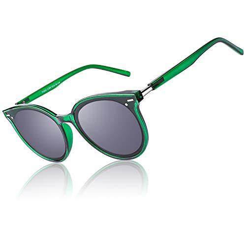 CGID Designer Oversized Runde Polarisierte Sonnenbrille für Frauen Retro Damen Sonnenbrille 100% UV400 Brille Transparente Grüne Gestell Graue Gläser M60