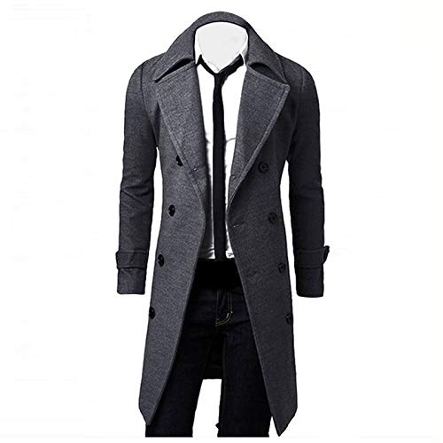 OutTop Trench Coat Men Wool Blend Double Breasted Notched Lapel Fall Winter Warm Overcoat Pea Coats Long Jacket Outwear (Gray, XL)