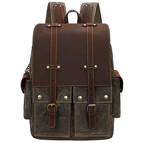 Multifuncional Viaje Bolsas para Cámara Mochila con cámara DSLR de los hombres Vintage cera de lona fotografía de la bolsa de hombro 15.4 '' laptop al aire libre mochila jornada de viaje Daypack Fotog