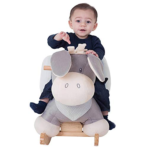 Nattou Schaukeltier ab 1 Jahr mit Gurt, Mädchen und Jungen – Cappuccino Esel beige - 4
