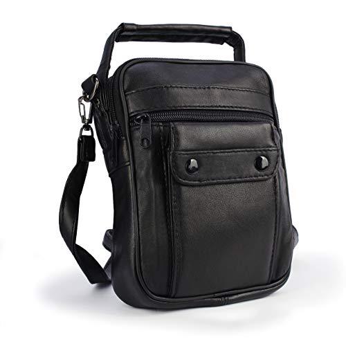CURVAN - leren schoudertas voor mannen | 100% echt leer | Zakelijke tas | Casual stijl | verstelbare riem | 20 x 14 x 4 cm | schapenvacht | zwart