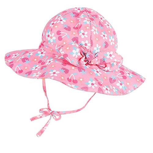 Cappello da Sole per Bambini Cappellino Estivo da 50 + UPF Protezione Solare Neonate Berretto da Spiaggia a Tesa Larga con Cinturino sottogola Regolabile