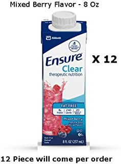 Count of 12 Ensure Clear Mixed Berry Oral Supplement 8 oz Recloseable Carton