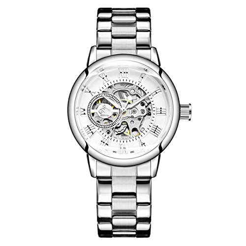 Rose Gold Damen Automatische Mechanische Skelettuhren Mesh Edelstahl Mode Lässig Damen Armbanduhr Geschenke Für Frauen 24cm Silber