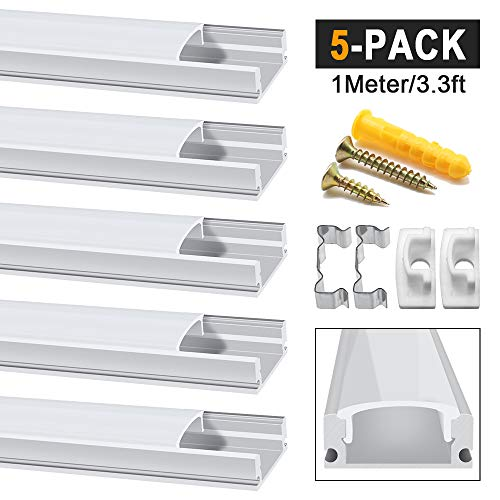 Chesbung LED Aluminium Profil 1m, 5er Pack in U-Form für LED-Strips/Band bis 12 mm) inkl. Abdeckungen in milchig-weiß, Endkappen, und Montagematerial