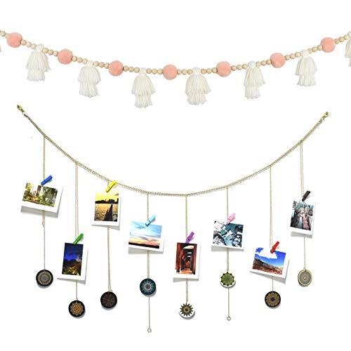 DrCor Blush Pink Pom Pom Garland with Boho Hanging Photo Display Garland