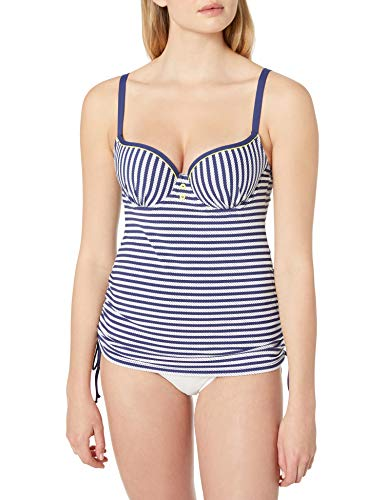 Cleo by Panache Women's Lucille Molded Bra-Sized Balconnet Tankini, Navy/White, 30 GG