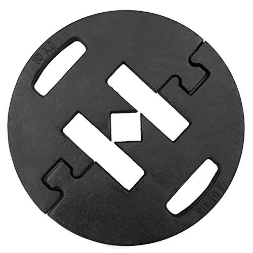Vispronet 10 kg Beschwerungsplatte ✓ ø 36 cm ✓ stapelbar ✓ für Faltzelte ✓ schwarz ✓ Gusseisen